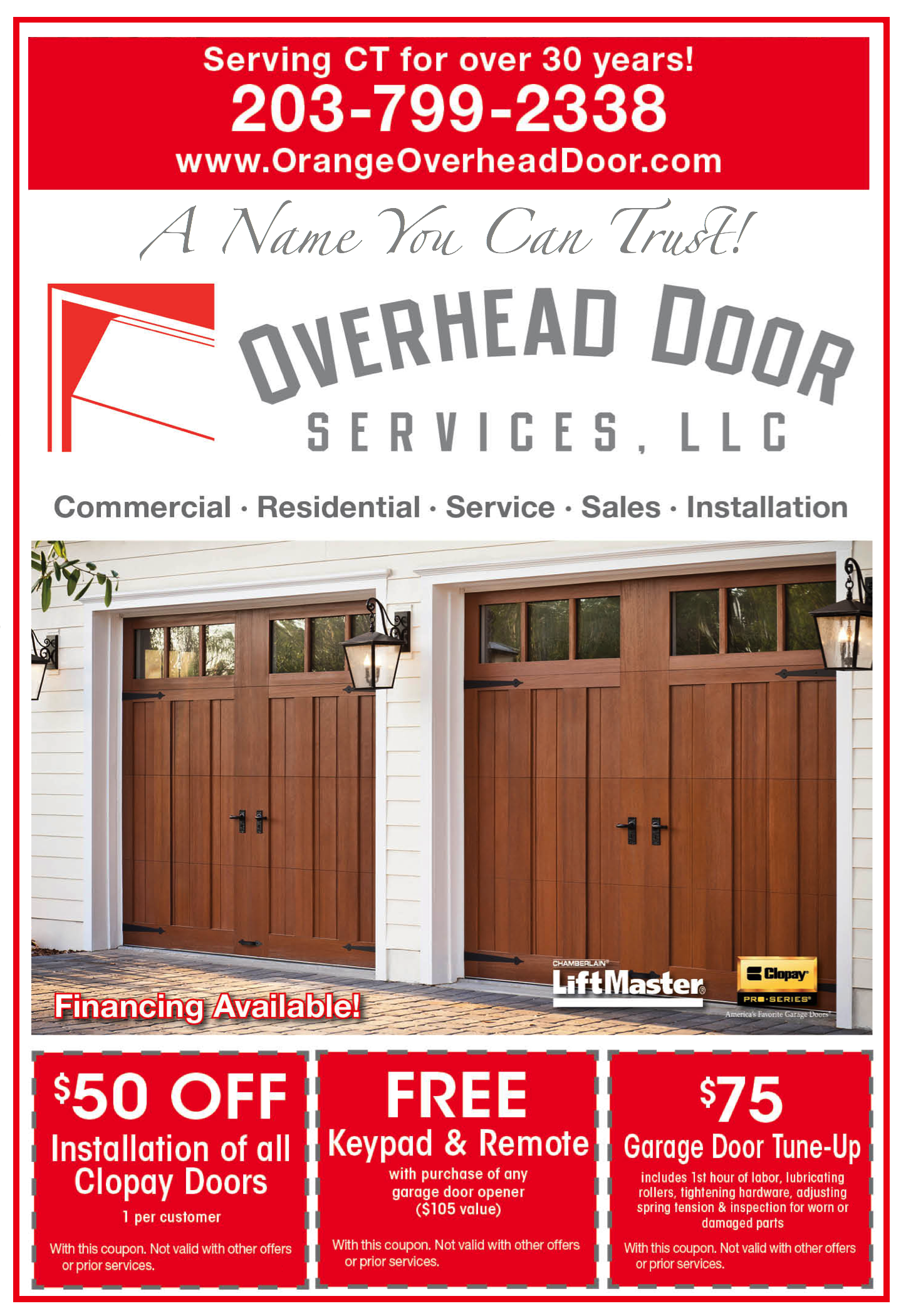 Specials And Promotions Orange Ct Overhead Door Services